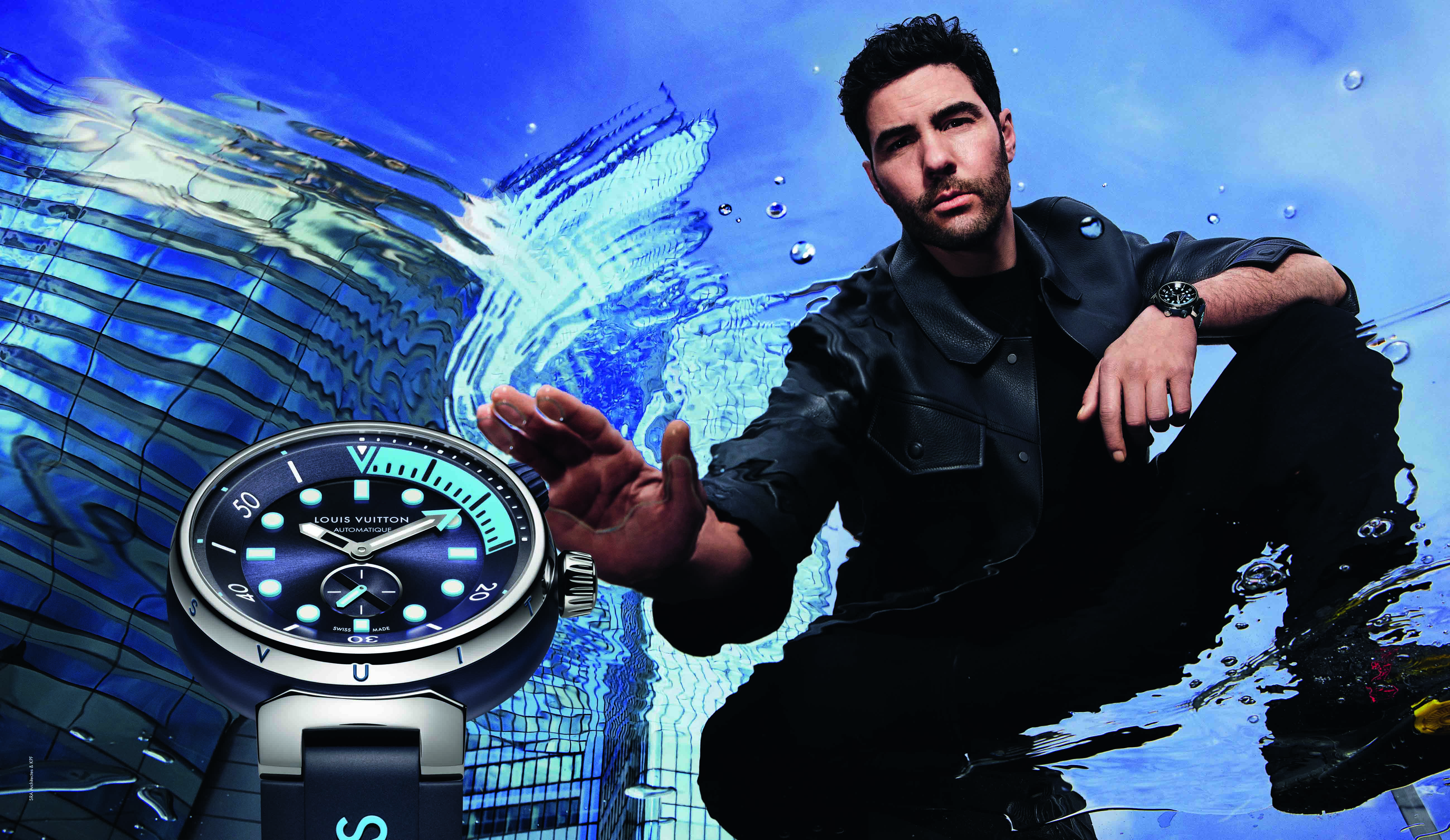 Tahar Rahim in the advertising campaign campaign for Louis Vuitton's new Tambour Street Diver watch.