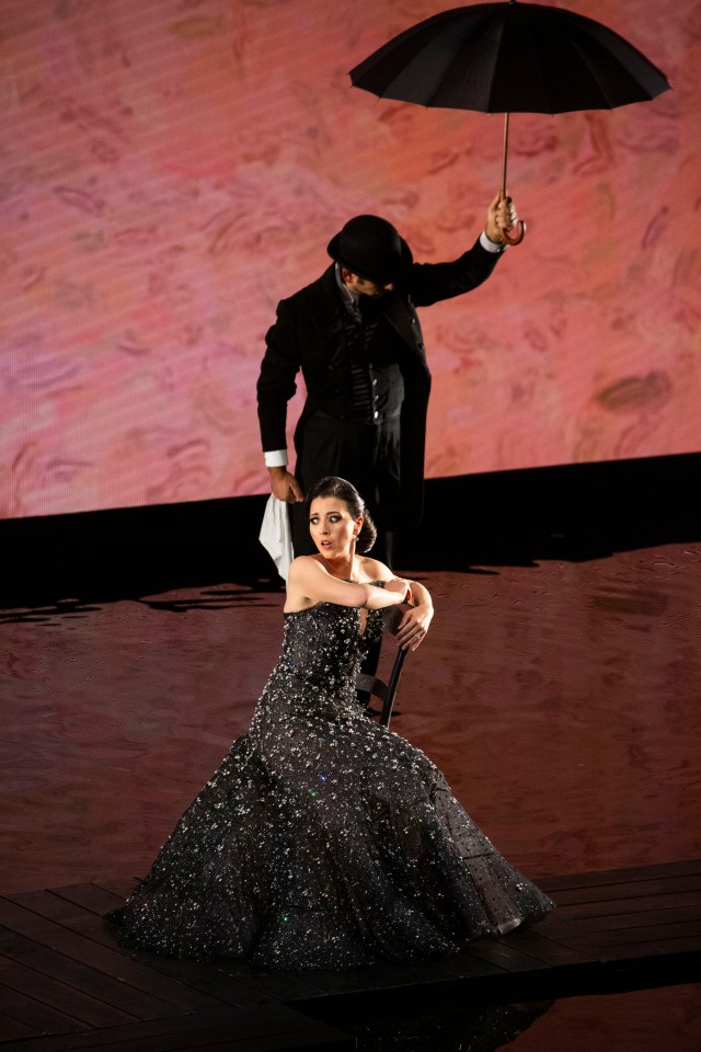 "Soprano Lisette Oropesa wearing a Giorgio Armani Privé gown for her performance during ""A riveder le stelle."""