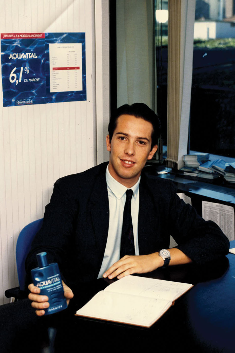 Nicolas as a young executive at the launch of Garnier Aquavital.