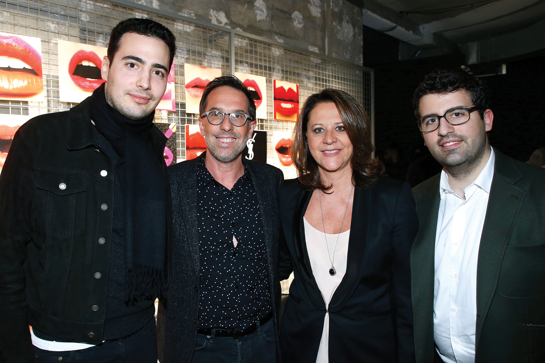 With Jean-Victor Meyers, his wife Géraldine Hieronimus and Nicolas Meyers at an Yves Saint Laurent event in 2018.