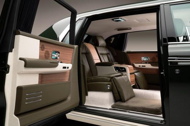 The interior of the bespoke Phantom Oribe created by Rolls-Royce and Hermès.