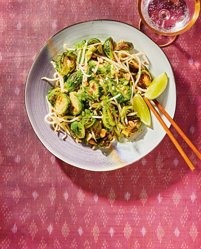 Pad Thai Brussel Sprouts. Reprinted from The Pepper Thai Cookbook. Copyright © 2021 by Vilailuck Teigen with Garrett Snyder.