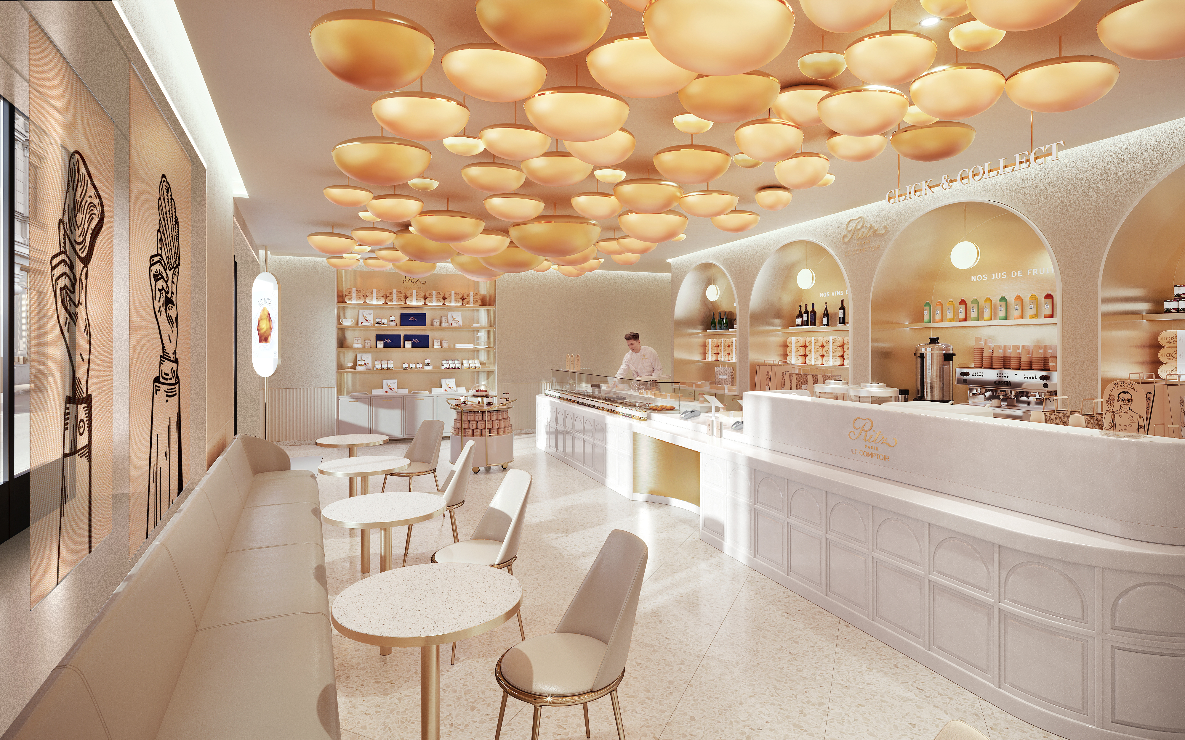 A rendering of the future Ritz Paris Le Comptoir on Rue Cambon.
