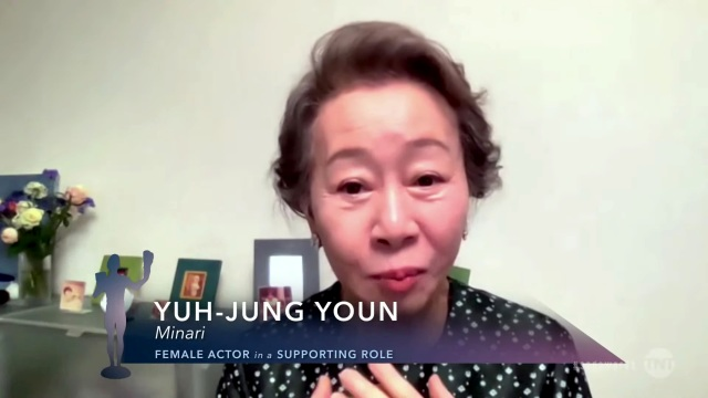 """VARIOUS CITIES - APRIL 04: In this screengrab released on April 4, 2021, Yuh-Jung Youn, winner of Outstanding Performance by a Female Actor in a Supporting Role for """"Minari"""", speaks during the 27th Annual Screen Actors Guild Awards on April 04, 2021. (Photo by 27th Annual SAG Awards/Getty Images for WarnerMedia)"""