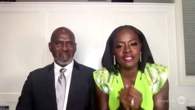 """VARIOUS CITIES - APRIL 04: (L-R) In this screengrab released on April 4, 2021, Julius Tennon and Viola Davis, winner of Outstanding Performance by a Female Actor in a Leading Role for """"Ma Rainey's Black Bottom"""", speak during the 27th Annual Screen Actors Guild Awards on April 04, 2021. (Photo by 27th Annual SAG Awards/Getty Images for WarnerMedia)"""