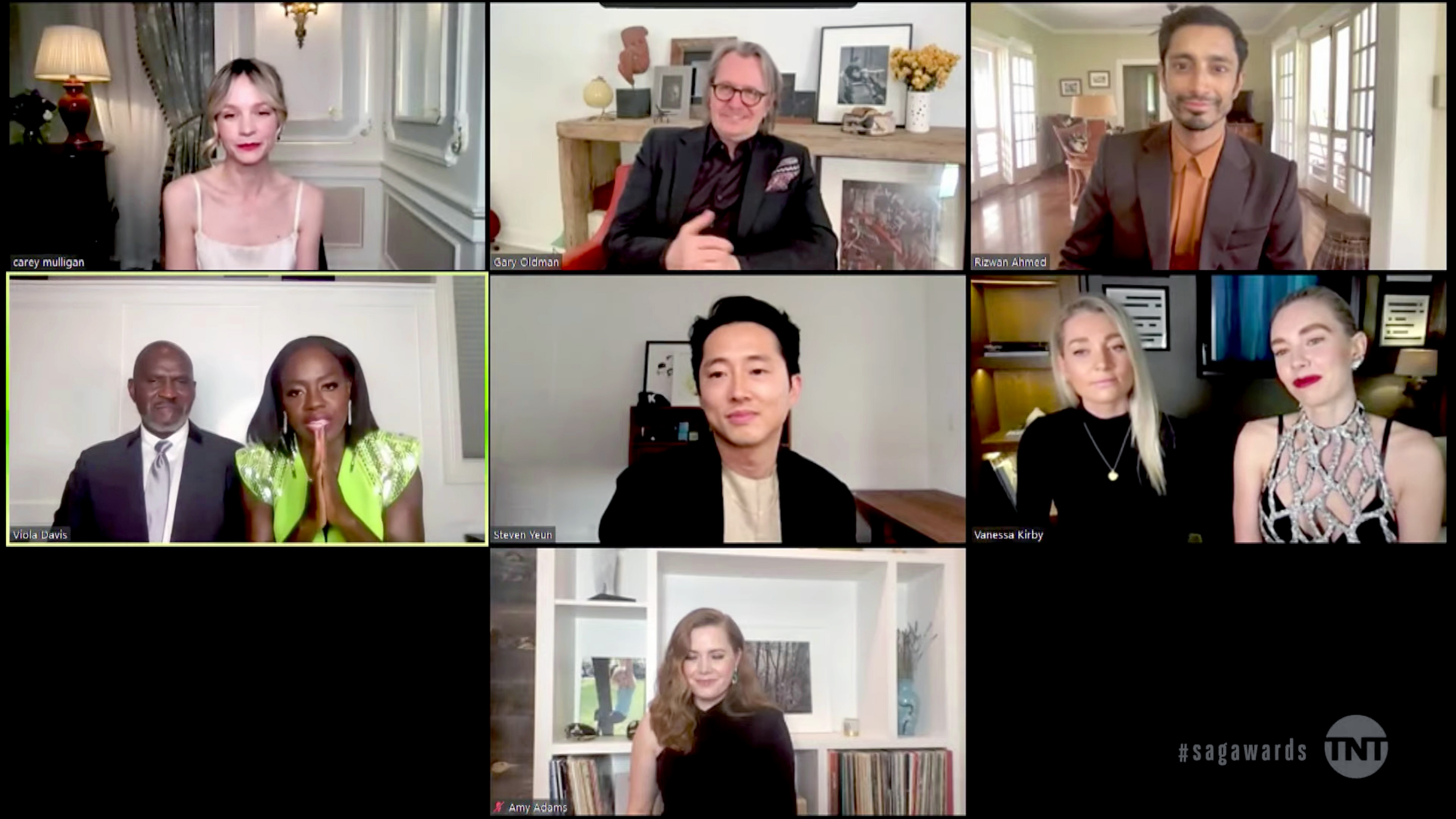 VARIOUS CITIES - APRIL 04: (L-R) In this screengrab released on April 4, 2021, Carey Mulligan, Gary Oldman, Riz Ahmed, Julius Tennon, Viola Davis, Steven Yeun, Vanessa Kirby, and Amy Adams speak during the 27th Annual Screen Actors Guild Awards on April 04, 2021. (Photo by 27th Annual SAG Awards/Getty Images for WarnerMedia)