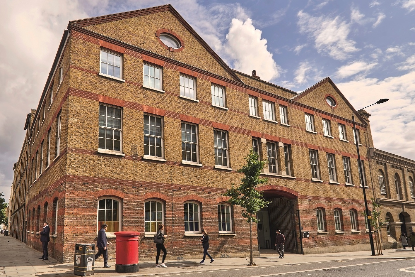 Exterior of Cottam House, where The Mills Fabrica is based at King's Cross, London