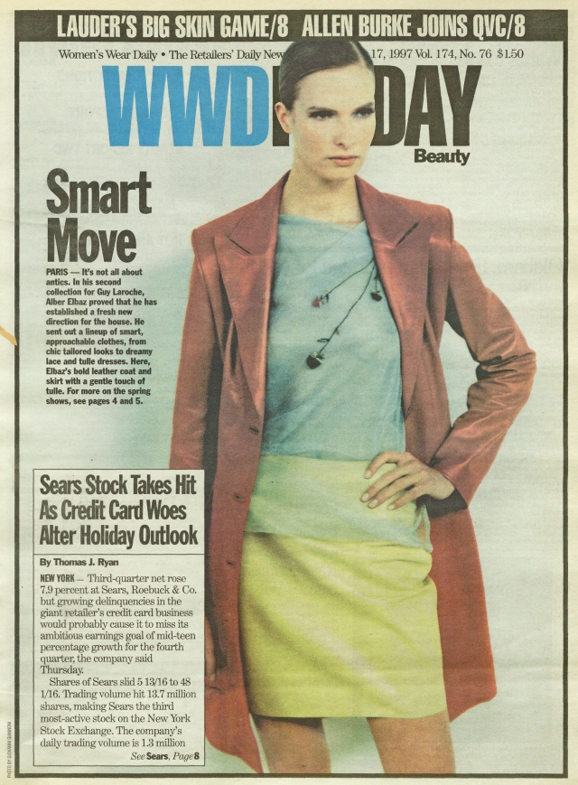 Alber Elbaz's second collection for Guy Laroche made the cover of WWD in 1997.