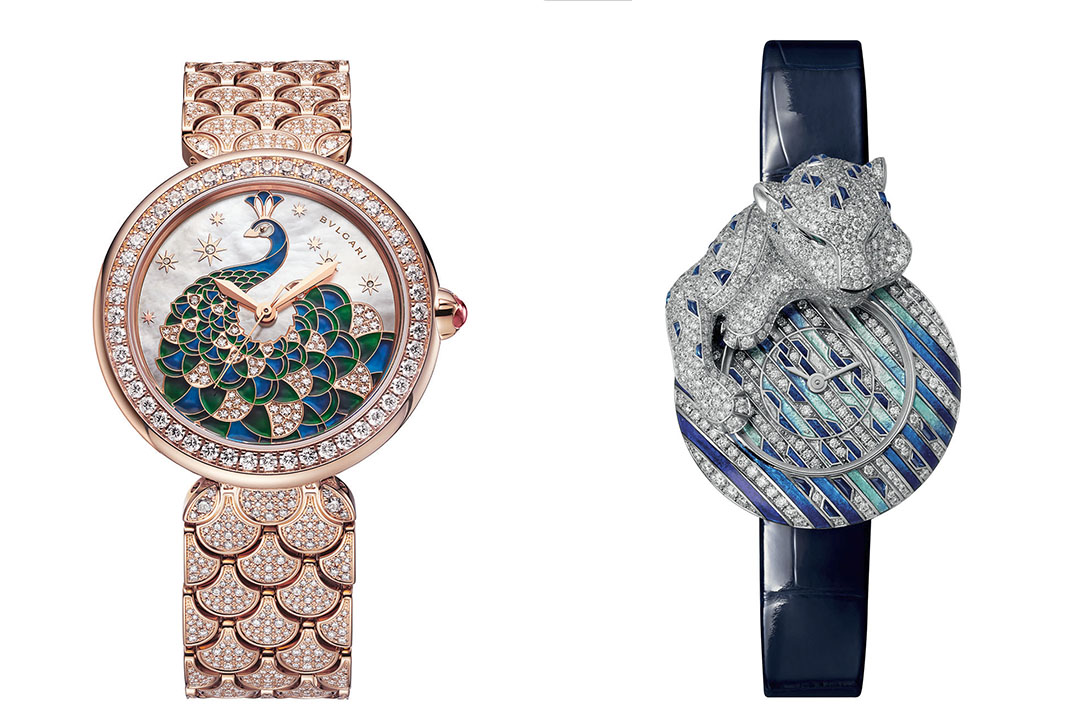2021 Women's Watch Trends: Blue and Green Evening Bulgari and Cartier