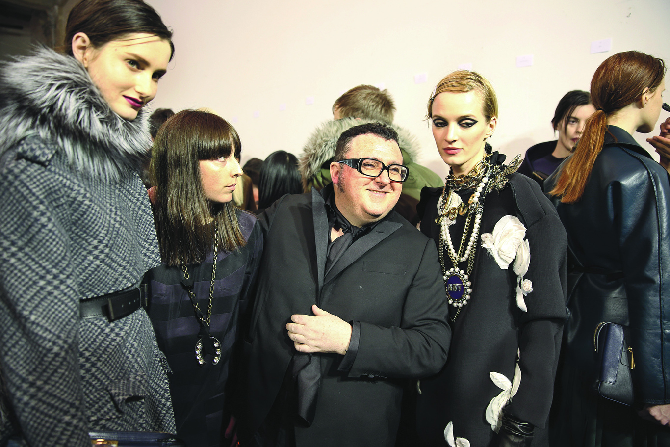Alber Elbaz backstage at his Lanvin fall 2013 ready-to-wear show.