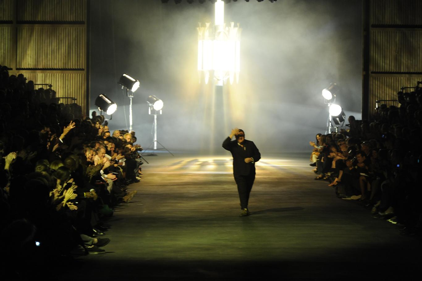 Designer Alber Elbaz on the runway after his Lanvin spring 2010 show at Halle Freyssinet.