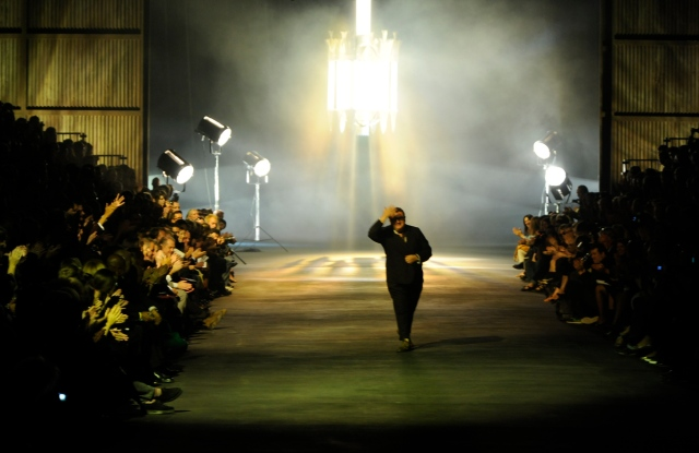 Designer Alber Elbaz on the runway after his Lanvin spring 2010 show at Halle Freyssinet.