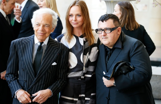 (L-R) Ralph Lauren, Stella McCartney and Alber Elbaz attend the Costume Institute preview at the Metropolitan Museum of Art.