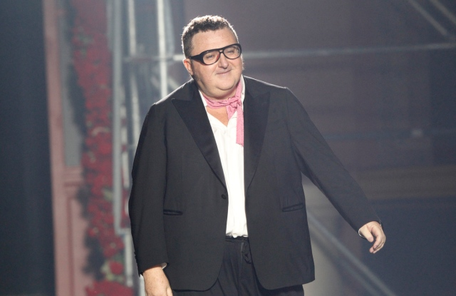 Alber Elbaz on the runway after Lanvin's spring 2013 show at Les Beaux-Arts de Paris.
