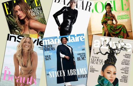 magazine covers of Elle, Harper's Bazaar, Vogue, InStyle, Marie Claire and Allure
