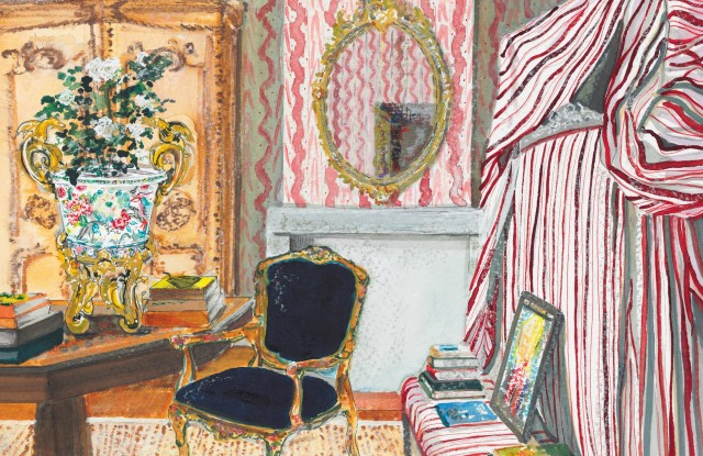 A mixed media painting of one of the rooms at Peter Copping's French chateau. Copping is curating a sale of antiques at Christie's.