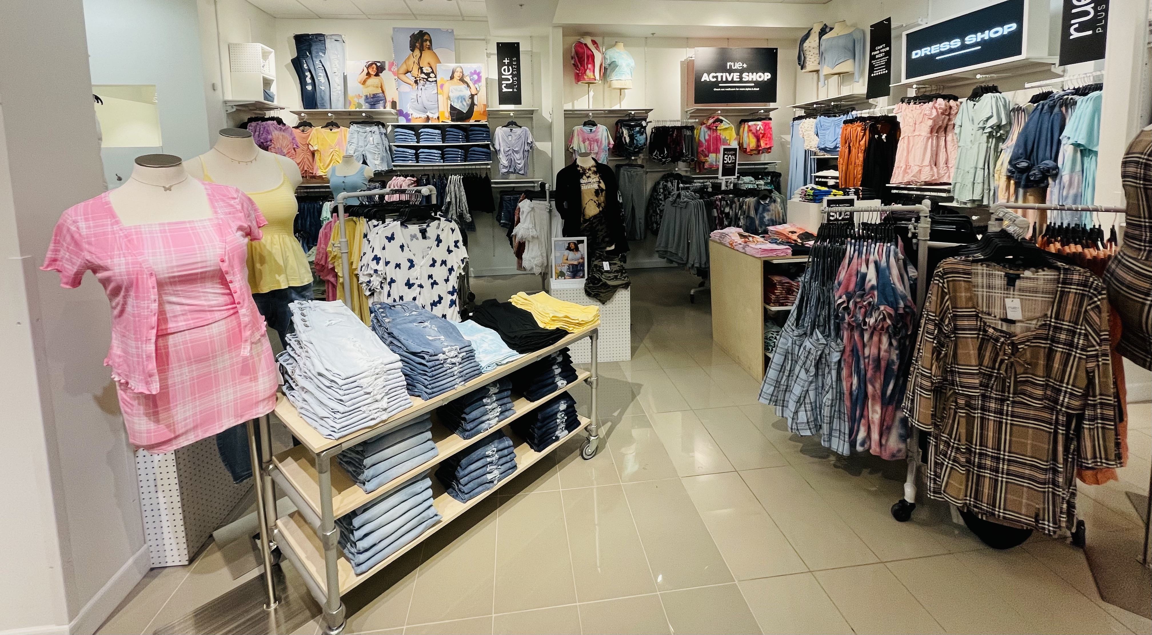 A plus-size section of a Rue21 store.