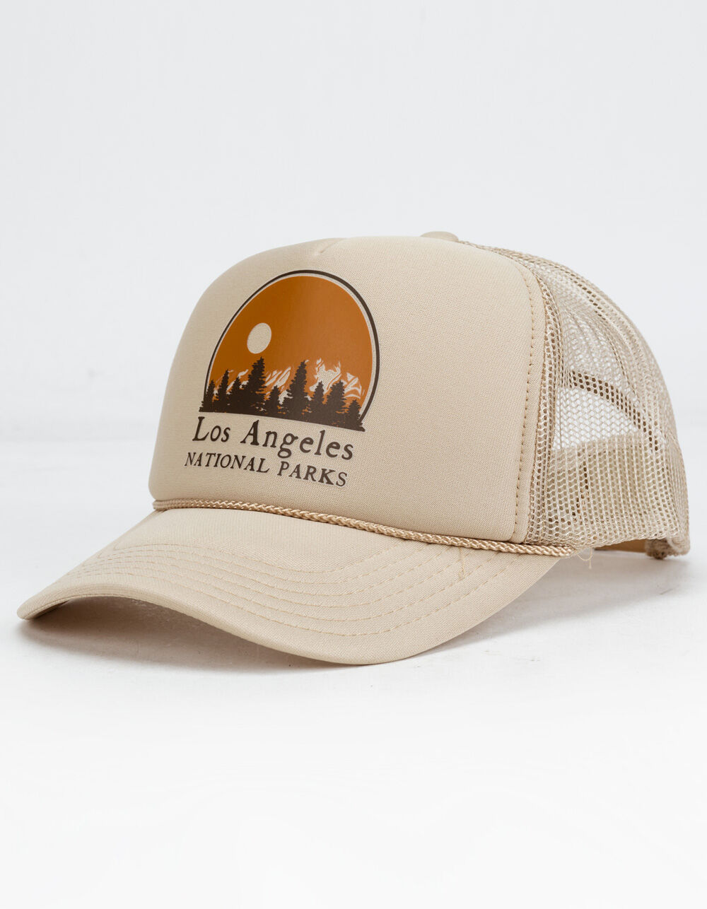 Tillys Los Angeles National Parks 6 panel trucker hat.