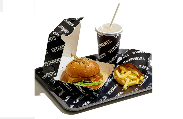 The Vetements burger combo meal is available only at KM20 in Moscow.