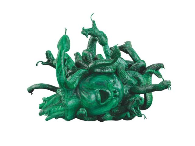Damien Hirst, The Severed Head of Medusa, 2008. Malachite, 15 x 19.5 x 20.5 inches (380 x 496 x 520 mm). Edition of 3 with 2 artist's proofs. Private Collector.
