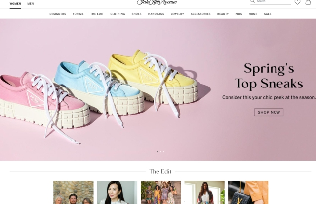 The women's home page on saks.com