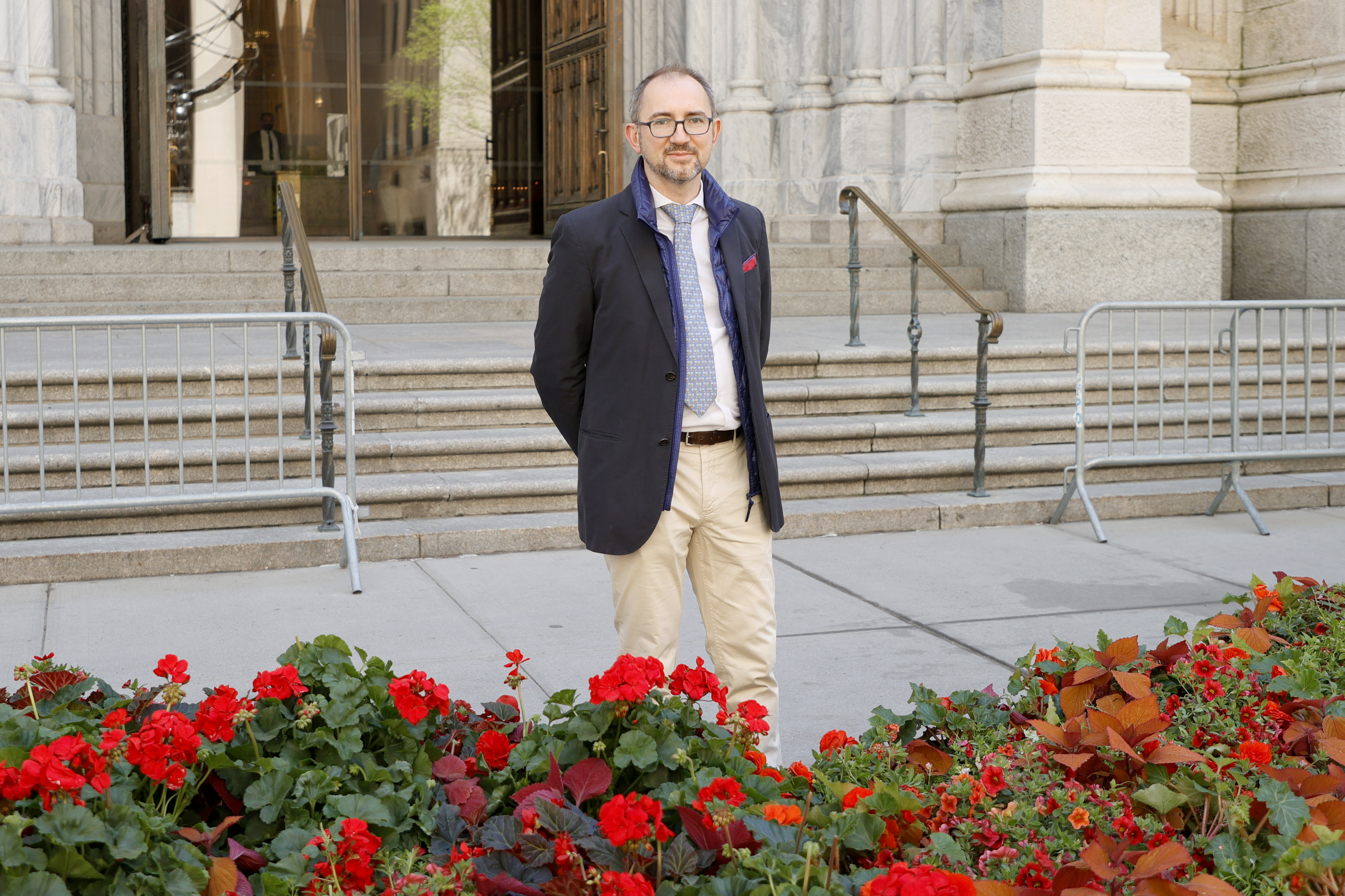 NEW YORK, NEW YORK - MAY 01: Fifth Avenue Association President Jerome Barth poses in front of the St. Patrick's Cathedral Fifth Avenue Blooms Mother's Day Installation on May 01, 2021 in New York City. (Photo by Michael Loccisano/Getty Images for Fifth Avenue Blooms Mother's Day Installation)