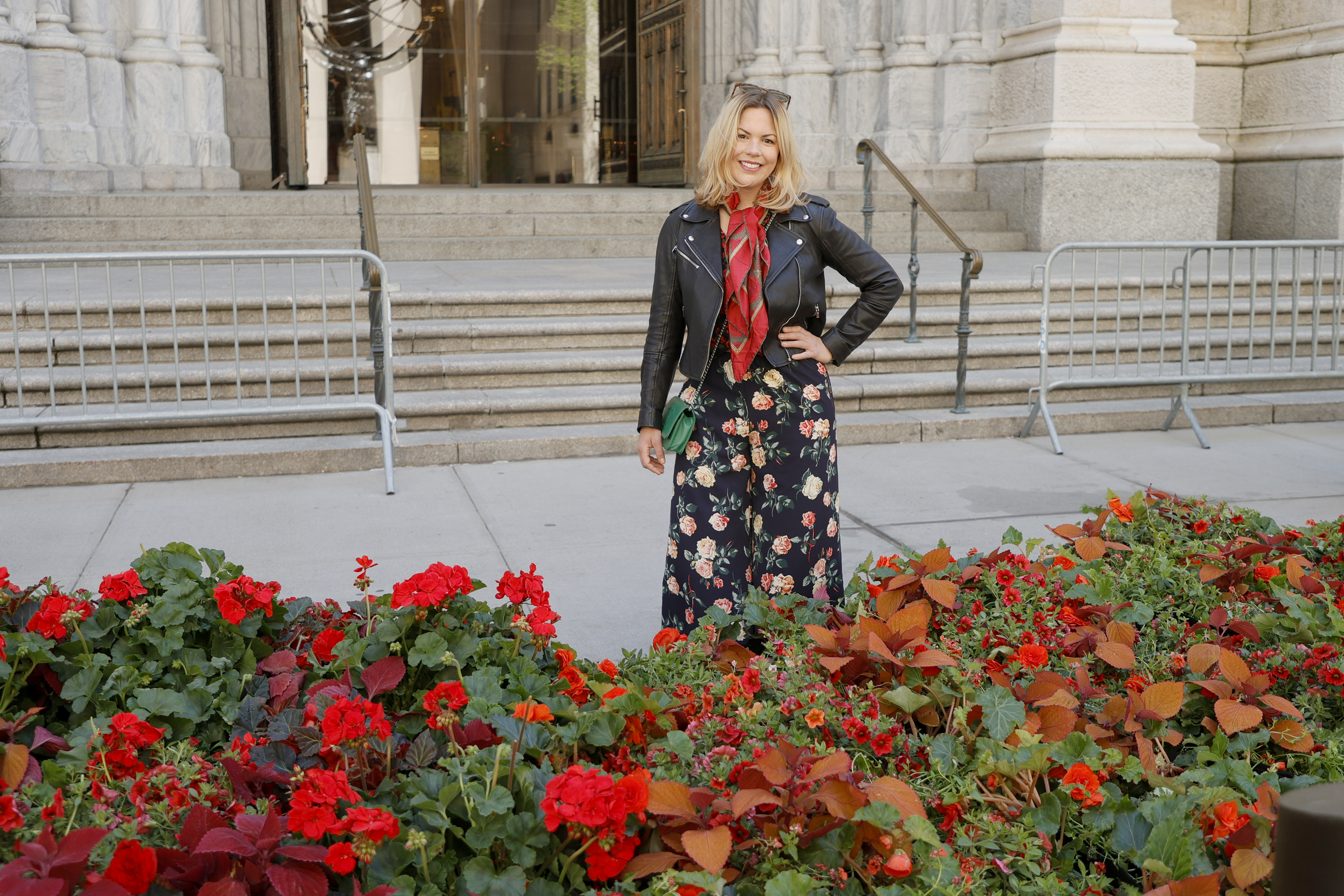 NEW YORK, NEW YORK - MAY 01: Floral installation designer Sachi Rose poses in front of her St. Patrick's Cathedral Fifth Avenue Blooms Mother's Day installation on May 01, 2021 in New York City. (Photo by Michael Loccisano/Getty Images for Fifth Avenue Blooms Mother's Day Installation)