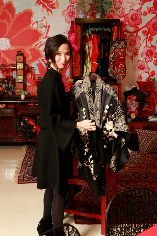 Designer Josie Natori debuts her first in-store shop at the Natori showroom in New York on February 6, 2013.