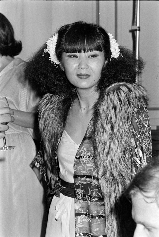 Designer Cathy Hardwick in a look from her fall 1977 evening-wear collection at Le Club restaurant in New York City.