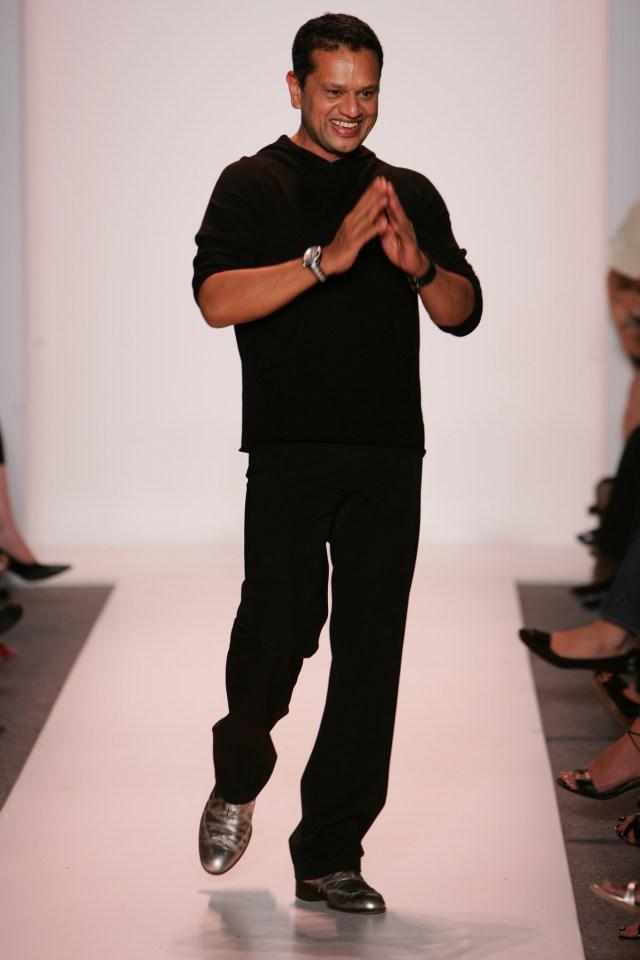 Designer Naeem Khan on the runway after his spring 2007 show at Bryant Park Atelier.