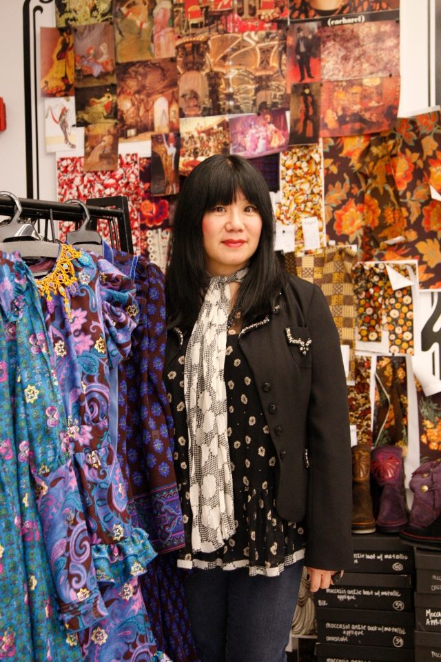 Designer Anna Sui prepares for her Fall 2009 show in New York City.