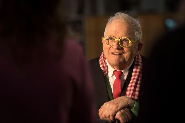 The Queen's Window. David Hockney in front of The Queen's Window, a new stained glass window at Westminster Abbey he designed and which was created by Barley Studio York, is revealed for the first time. Picture date: Wednesday September 26, 2018. The window - the artist's first work in stained glass - reflects the Queen's love for and connection with the countryside. See PA story ARTS Hockney. Photo credit should read: Victoria Jones/PA Wire URN:38770401 (Press Association via AP Images)