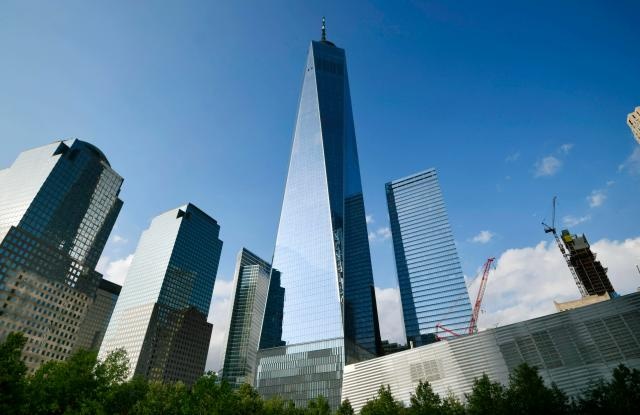 Photo taken Sept. 9, 2019, shows One World Trade Center in the New York skyline. 1WTC was built on the site of the twin towers destroyed in the terrorist attacks on Sept. 11, 2001. (Kyodo via AP Images) ==Kyodo