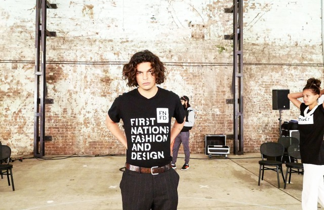Indigenous models Pierce Jones and Lisa Fatnowna during the rehearsal for Afterpay Australian Fashion Week's Welcome to Country opener, May 30, 2021, Carriageworks, Sydney.