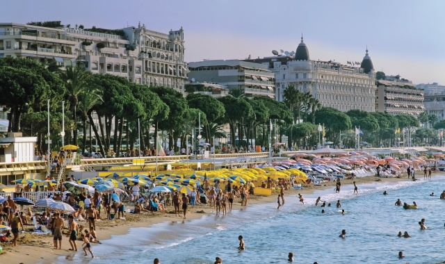 View of the beach at Cannes.