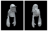 One of Aitor Throup's NFTs sculptures based on the three characters he developed for his Anatomyland fashion project.