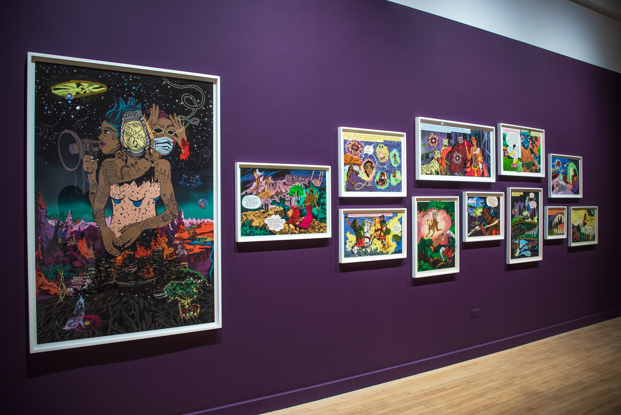 Installation view of Chitra Ganesh's work at the Bronx Museum.
