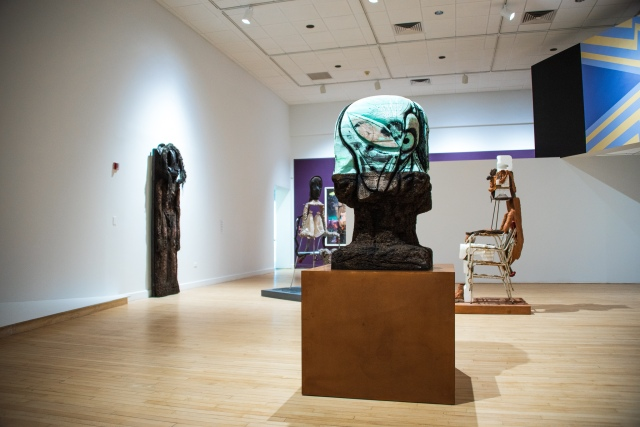 """Installation view of """"Born in Flames"""" at the Bronx Museum."""