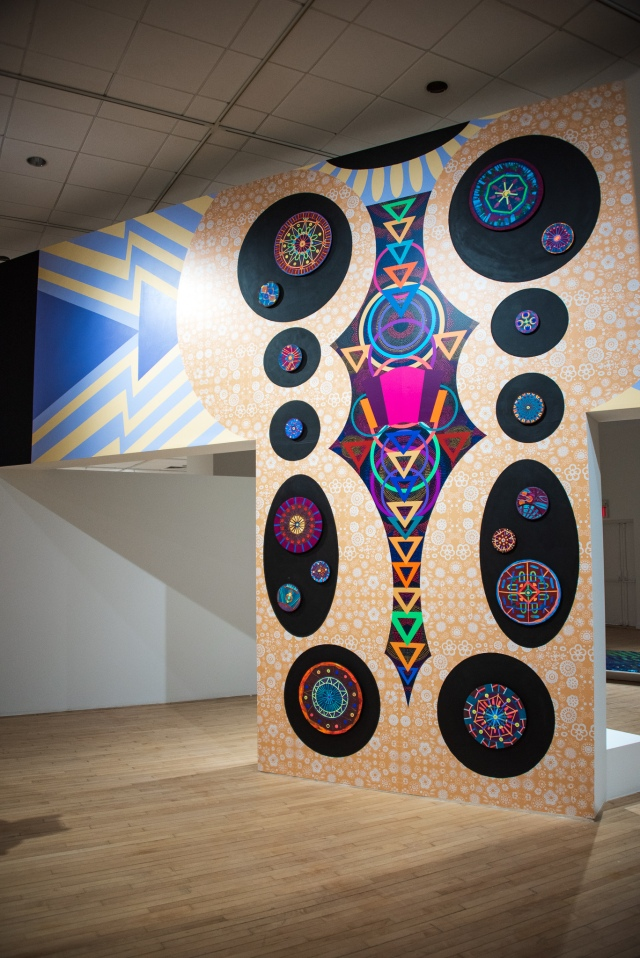 "Installation view of Saya Woolfalk's ""Daishikimono (daywear for lands not yet habitable by human kind)."