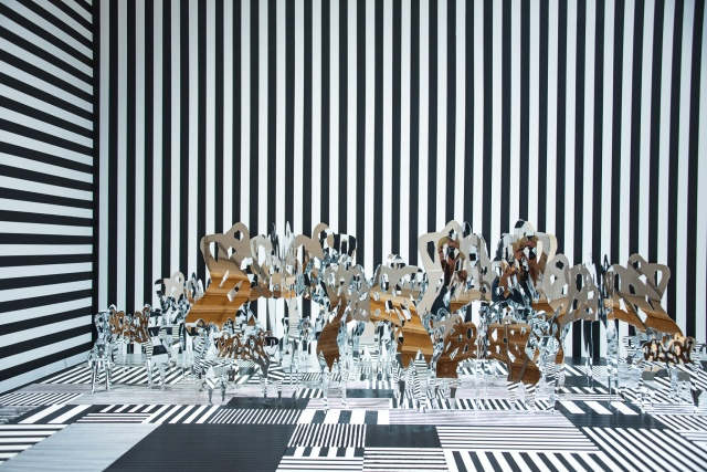 """Installation view of Shoshanna Weinberger's site specific installation """"Traversing the Invisible Lines."""""""