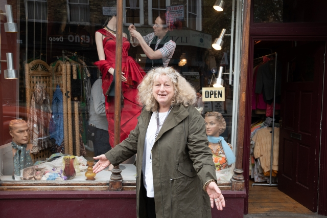 Costume designer Jenny Beavan on the set of Disney's live-action CRUELLA. Photo by Laurie Sparham. © 2021 Disney Enterprises Inc. All Rights Reserved.