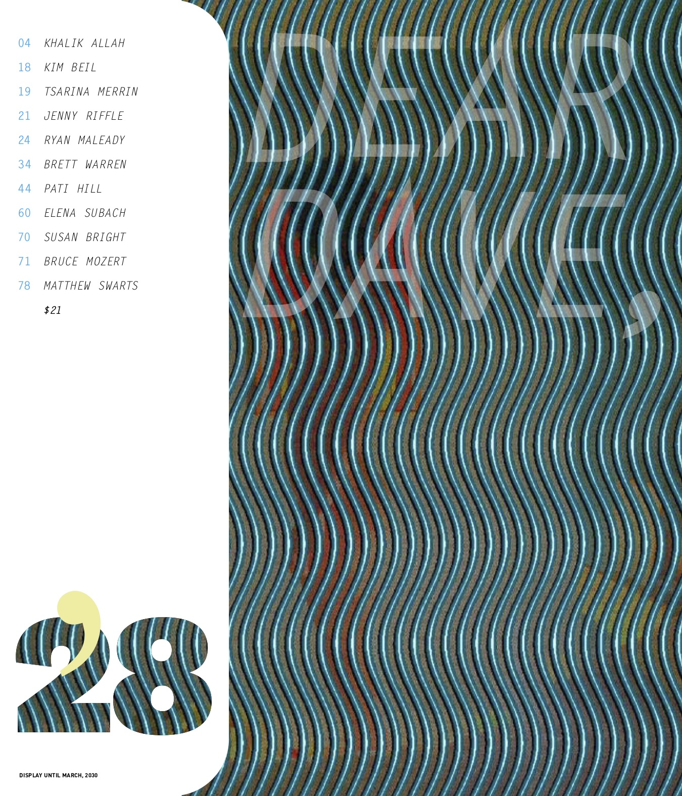 The cover of the 28th issue of Dear Dave.