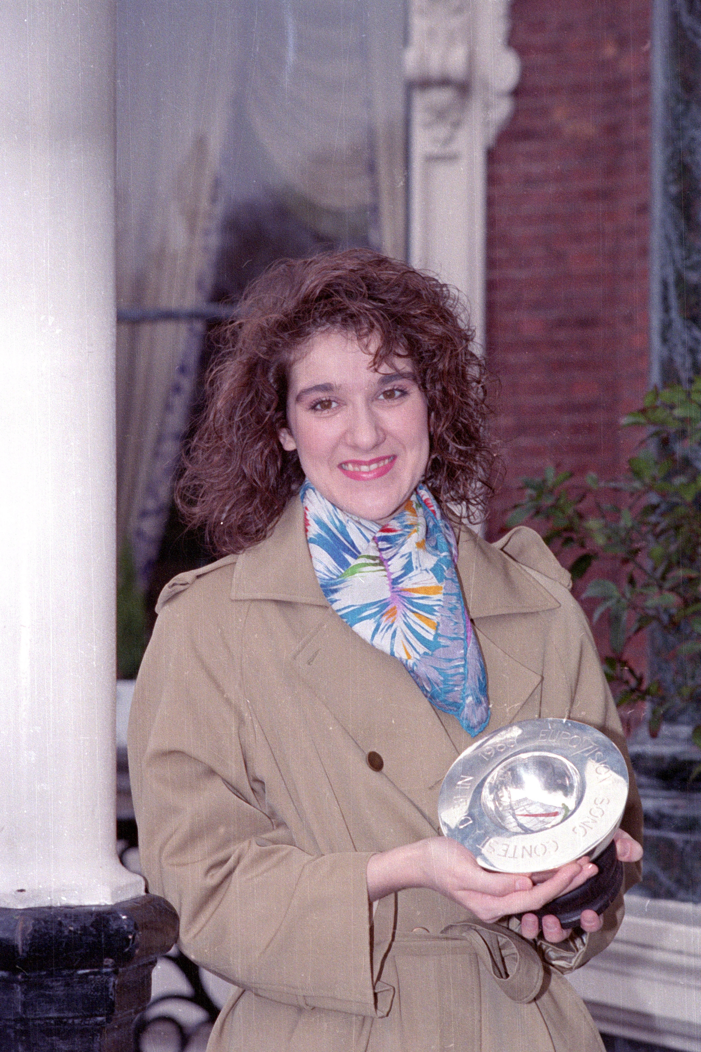 20-year-old Montreal native Celine Dion is showing her Eurovision Song Contest trophy in Dublin, Ireland, May 1, 1988.