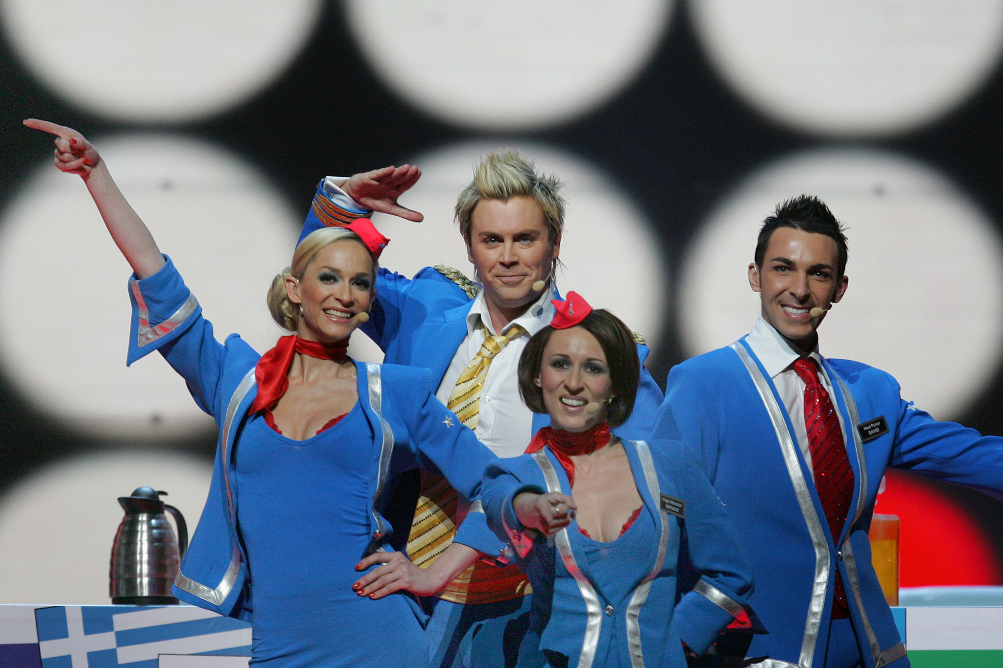 Scooch representing the United Kingdom, sing their song entitled 'Flying the Flag (For You)' at a dress rehearsal for the 2007 Eurovision Song Contest, in Helsinki, Finland, Friday, May 11, 2007.