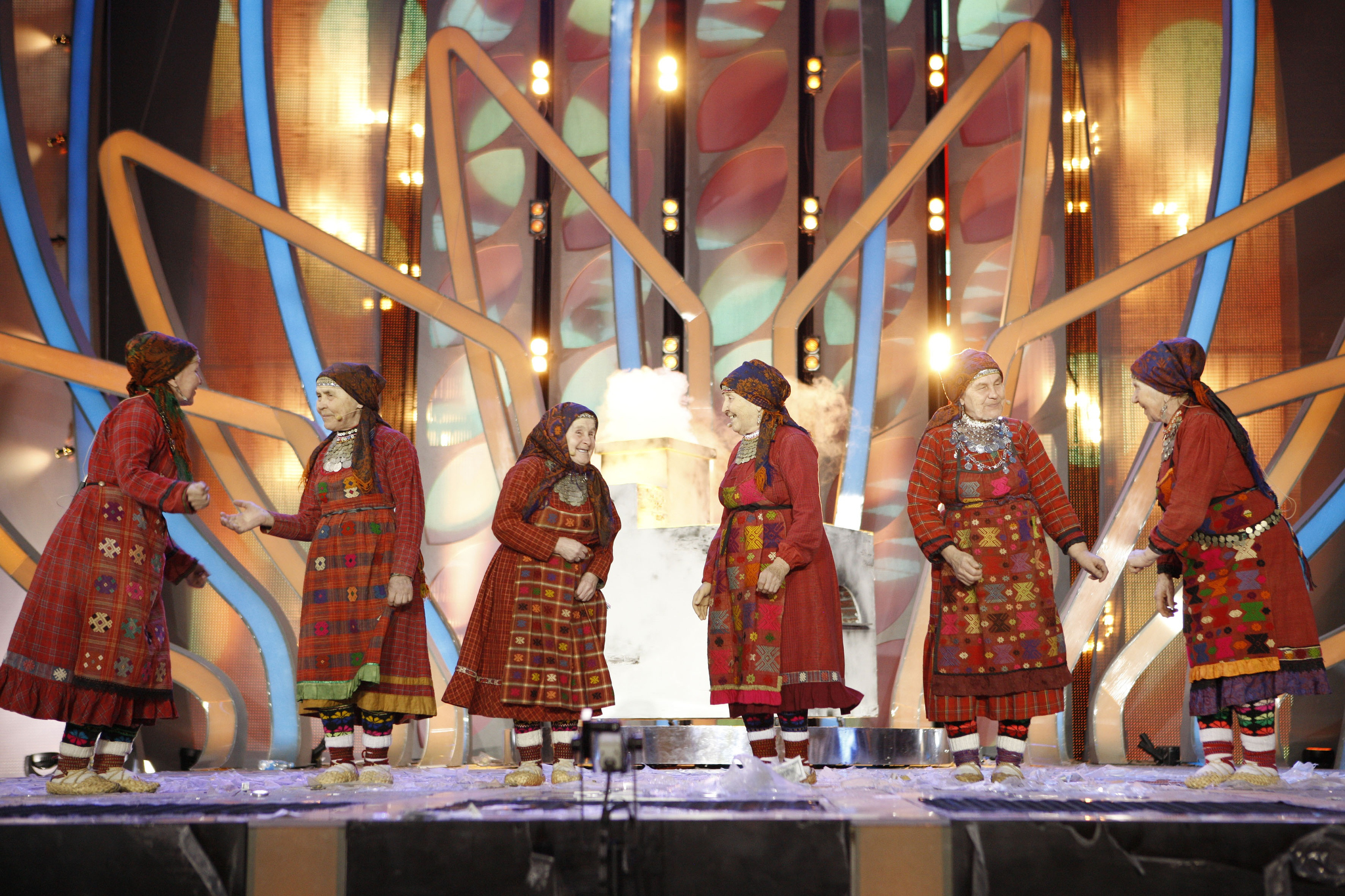 A Russian group known as the Buranovskiye Babushki, or Buranovo Grannies, perform during Eurovision in Moscow, Russia, Wednesday, March 7, 2012.