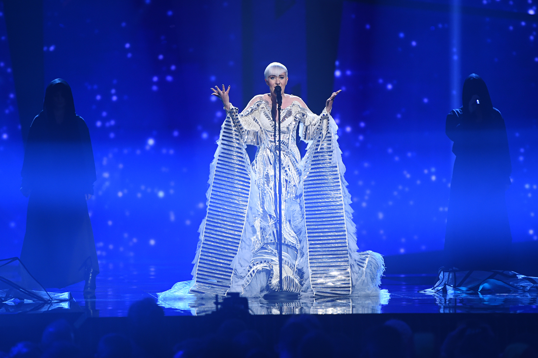 """Nina Kraljic representing Croatia with """"""""Lighthouse"""" during the Grand Final of the 61st annual Eurovision Song Contest in Stockholm, Sweden, 14 May 2016."""