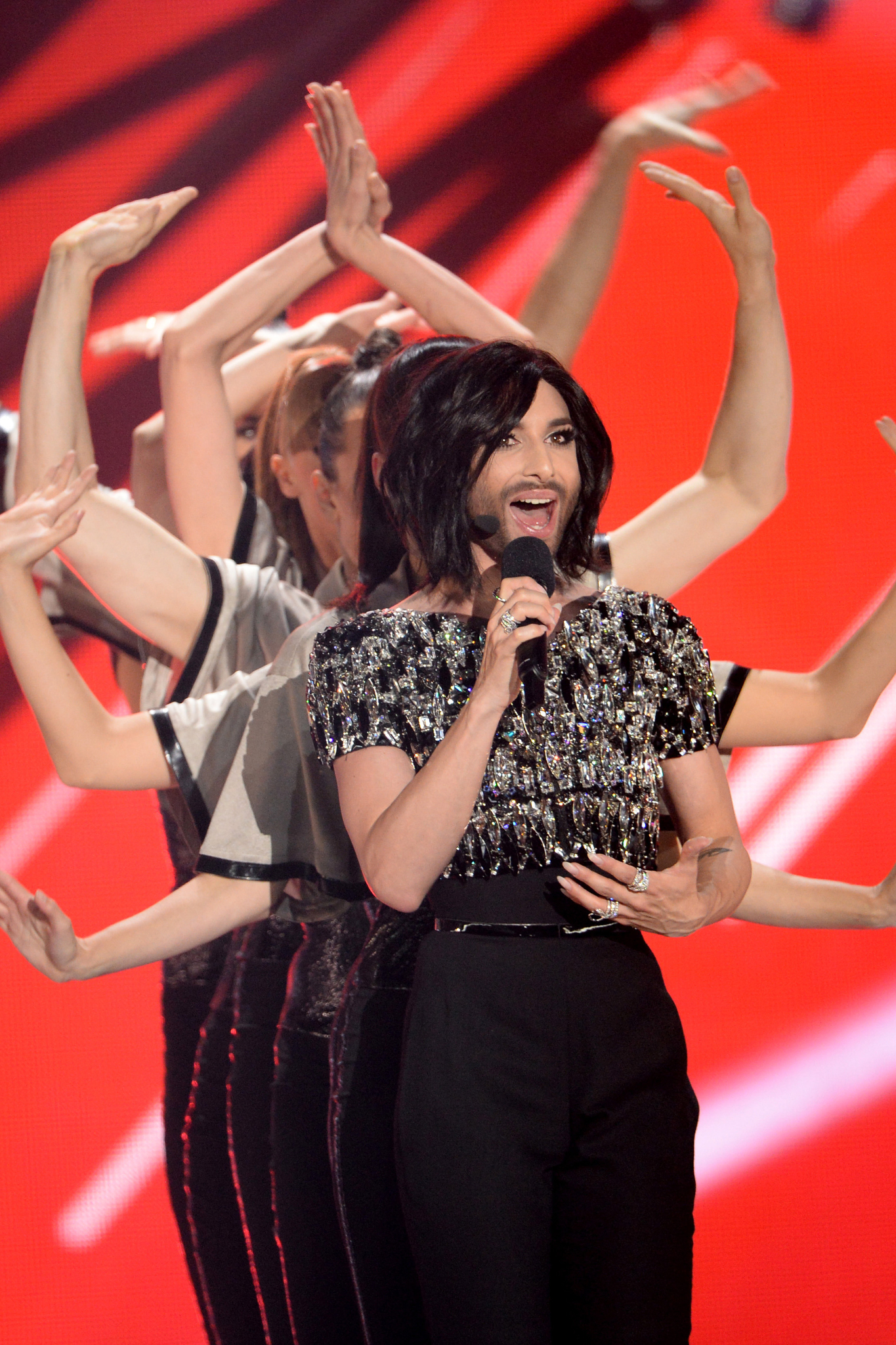Conchita Wurst performs during the opening of the Grand Final of the 60th Eurovision Song Contest 2015 in Vienna, Austria, 23 May 2015.