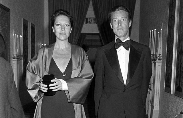 Elsa Peretti and Halston attend the Fragrance Foundation's dinner together in the Plaza Hotel in 1976.