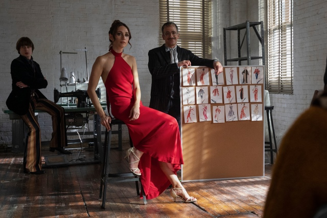 Rory Culkin as Joel Schumacher, Rebecca Dayan as Elsa Peretti and David Pittu as Joe Eula in 'Halston'