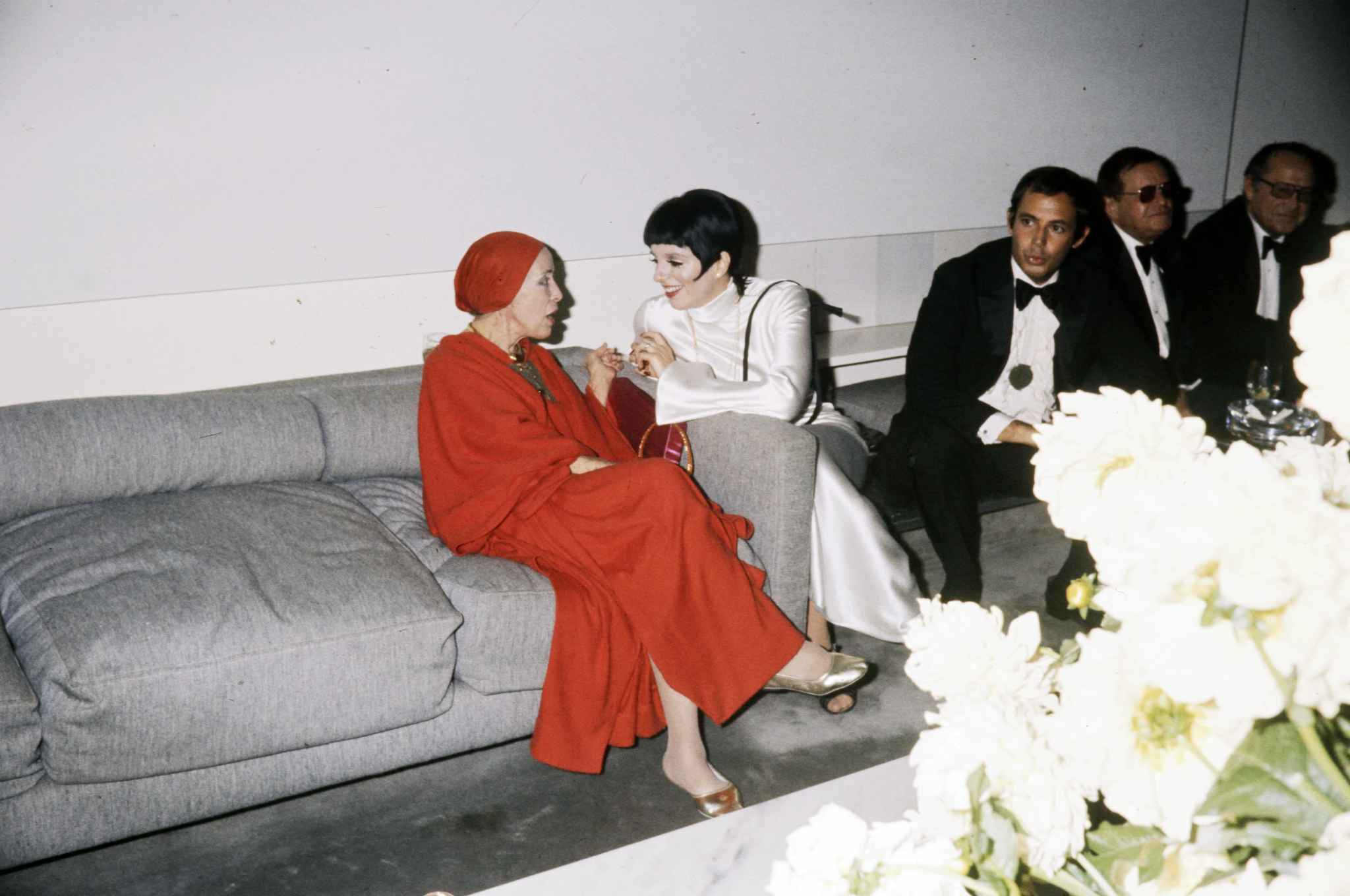 Martha Graham and Liza Minelli attend her wedding anniversary party at Roy Halston's New York home on September 15, 1975.